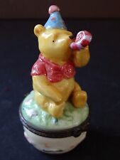 Midwest Cannon Falls Disney Pooh Ceramic Trinket Box Happy Birthday Celebration