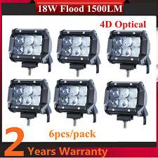 6X 18W LED Flood Working Light 4D Optical Fits Jeep Trailer F134/150 UTE 4X4 24W
