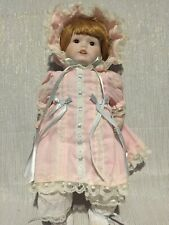 Collector's Porcelain Doll in Box Toy Land Corporation girl pink dress bonnet