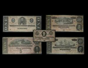 $20 $10 $5 $1 50C Confederate States Set of 5 Notes No Reserve Auction 99C Open