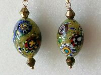 Vintage Venetian MURANO MILLEFIORI Bead 925 Drop Dangle Earrings match necklace