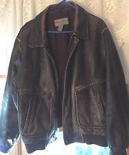 Eddie Bauer Dark Brown Black Distressed Leather Bomber Journeyman Jacket Mens L