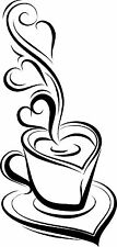 Coffee Tea cup Kitchen Wall Stickers Cafe Vinyl Art Decals, coffee shops