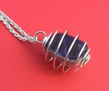 NEW! Sodalite Gemstone Tumble Cage Pendant Unique Necklace Blue - Aussie Seller!