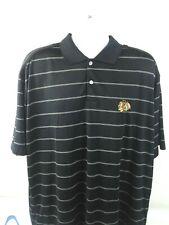 Antigua Chicago Blackhawks Black/White Stripes Short Sleeve Polo Size XL