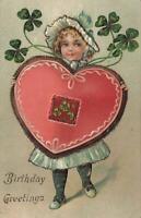 VINTAGE LIGHTLY Embossed Girl Heart Clovers Glitter Birthday Greetings POSTCARD
