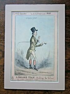 1829 Heath Caricature Peter Delme-Radcliffe Kings Horse Racing Trainer Equine