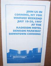 Winross Weekend July 18-20 1997 Corning NY Radisson Hotel Pamphlet Program