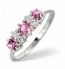Pink Sapphire and Diamond Engagement Ring Three Stone White Gold Appraisal