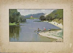 8560019 Roms, Fishermen on the River, Oil / Box