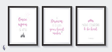 Disney cinderella bedroom A4 prints (set of 3) bedroom decor pink and grey