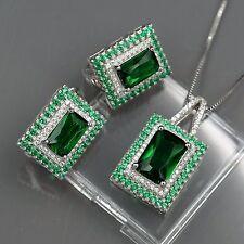 925 Sterling Silver Zirconia CZ Pendant Necklace Dangle Earrings Jewelry Set 642