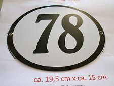 Hausnummer Oval Emaille  schwarze Nr. 78  weißer Hintergrund 19 cm x 15 cm