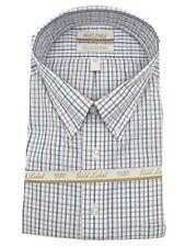 Gold Label Men's Dress Shirt Size 19 34/35 Big White Multi Check Roundtree Yorke