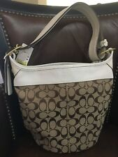 Coach Signature LEATHER Bag Purse NEW NWT 298.00 white creme tan with dust bag