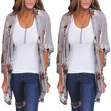 Women Chiffon Loose Shawl Print Kimono Cardigan Top Cover Up Blouse Beachwear CA