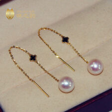 AAA+ 7.5-8mm real natural Japan Akoya white round pearl earrings 18k Yellow Gold