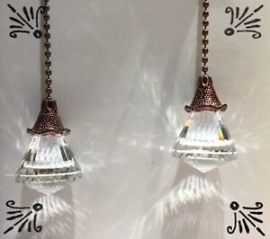 Handcrafted Faceted Prism Glass Drop Antique Bronze Ceiling Fan Pull