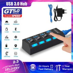 4 Port Powered USB HUB 3.0 High Speed USB Splitter Extension For PC Laptop UK