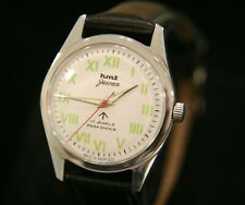 Vintage men's white dial serviced 1970's HMT Jawan 17J military wristwatch