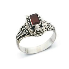 Sterling Silver and Garnet Poison Ring - Size 10