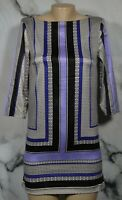 H&M Ivory Black Purple Blue Patterned Dress 4 3/4 Sleeves Boat Neck Unlined
