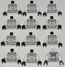 LEGO NEW LOT OF 12  STAR WARS CLONE TROOPER MINIFIG TORSOS WITH GREEN MARKINGS
