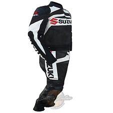 Suzuki GSX Black Motorcycle Motorbike 2 Piece Cowhide Leather Armoured Suit Please Email Measurements
