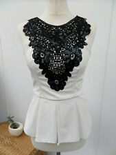 LIPSY London Michelle Keegan White Leather Look Top Black Sequin Crochet UK 10