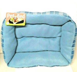 """Small  Dog Bed  21"""" x 15.7"""" Light Blue Bed Plaid Machine washable Travel Pillow"""