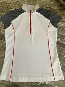 Callaway Athletic Top SMALL Classy Short Sleeve 1/4 Zip Womens Activewear Shirt