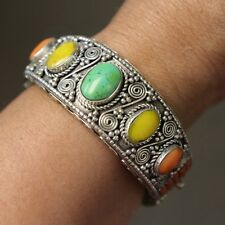 Tibetan Turquoise Coral Cuff Bracelet Bangle Resin Silver Plated Nepal BRS30