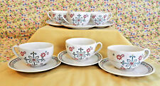RARE~HTF~STARBUCKS 2006 HOLIDAY SET  SIX CUPS & SAUCERS 8 OZ SNOWFLAKES FLORAL