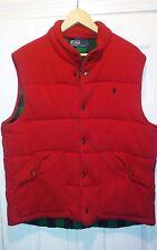 Men's Red Ralph Lauren Polo Vest Size L green black plaid on the inside