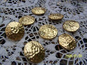 Anciens boutons. Lot de 8 boutons dorés martelés. Art Déco. N°171