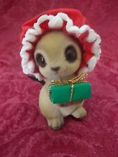 Vintage Josef Christmas Mouse Flocked 3 Inches Girl Mouse with Present