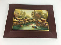 Vintage Wooden Frame Oil Painting African / South American? Tribal River Scene