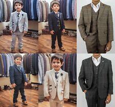 Boy's Children'S TRASMISSIONE Peaky Blinder Tweed assegno 3 Pezzi Suit Misto Lana Nuovo