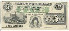 Connecticut Bank New England Goodspeed $5 G22c 18XX Ship Yard Plate A C.U.