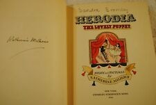 Herodia the Lovely Puppet Katherine Millhous SIGNED Children's Book 1942 1ST ED
