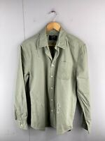 Stray Mens Long Sleeve Heavyweight Distressed Button Up Shirt Size L Green