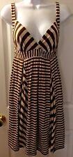 Women's ELLA MOSS Anthropologie Striped Jersey Knit Sun Dress Brown Beige Sz XS