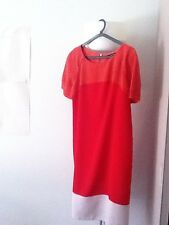 DOROTHY PERKINS ORANGE RED CREAM COLORBLOCK TENT DRESS UK 12 large