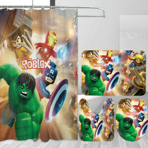 Roblox Bathroom Rug Set 4PCS Shower Curtain Set Non-Slip Toilet Seat Cover Gifts
