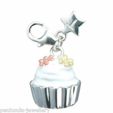 Tingle Cup Cake Sterling Silver clip on Charm with Gift Box and Bag SCH164