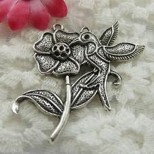 Free Ship 39 pieces Antique silver flower bird pendant 49x44mm #666