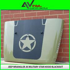 Hood Blackout Star Decal Matte Black Out w/ install kit Jeep Wrangler JK 07-16