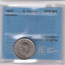 1937 Canada 5-cents Nickel Coin CCCS MS-64