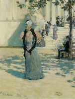 CHARACTERS IN THE SUNLIGHT BY HASSAM ARTIST PAINTING REPRODUCTION HANDMADE OIL