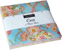 "Coco Moda Charm Pack 42 100% Cotton 5"" Precut Quilt Squares by Chez Moi"